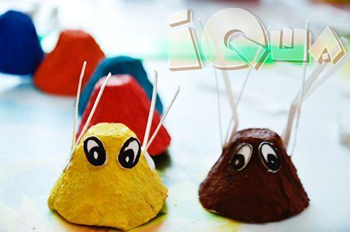 Поделка из упаковки: Гусеница и паучок. Боится ли ваш малыш насекомых? С помощью нашей поделки из картонной упаковки из-под яиц вы сделаете смешных, забавных и вовсе не страшных паучка и гусеницу.