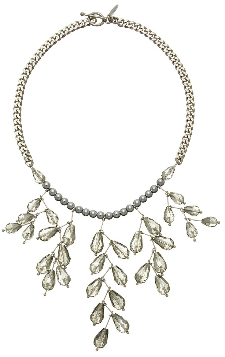 VIOLA  STATEMENT NECKLACE WITH CRYSTAL DROPS AND SILVER HEMATITE