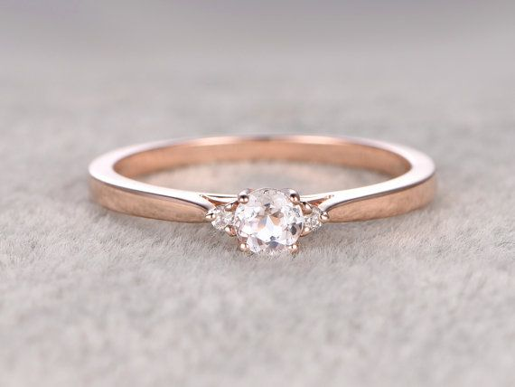 3 Steine Morganit Engagement ring Rose gold, Diamond Wedding Band, 14k, 5mm rund…