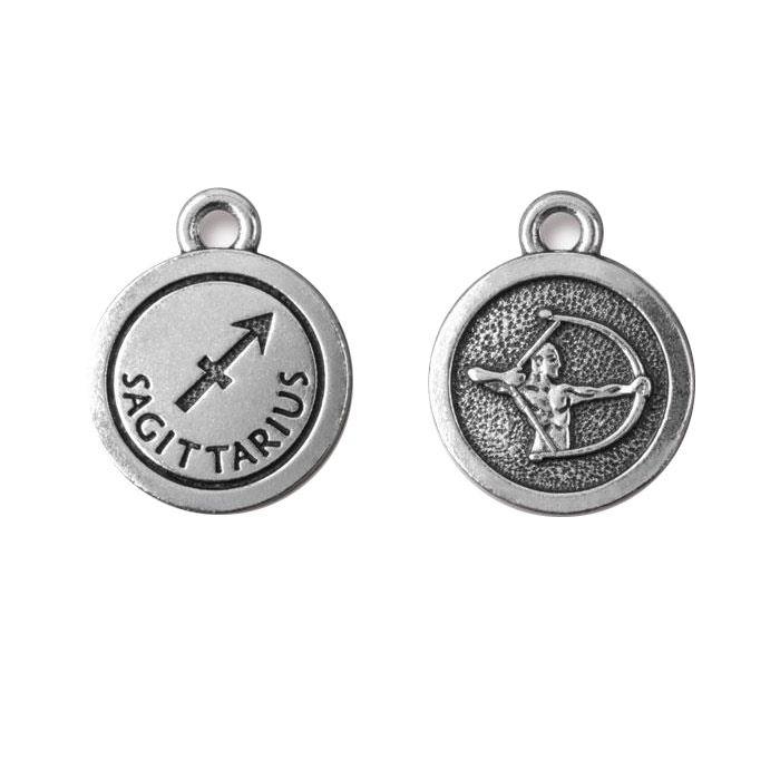 Sagittarius Charm Antique Silver