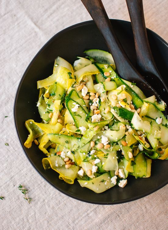 ribboned summer squash salad: minus feta for paleo. Maybe add some olives instead