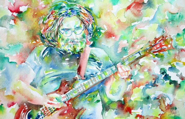 Jerry garcia playing the guitar watercolor by