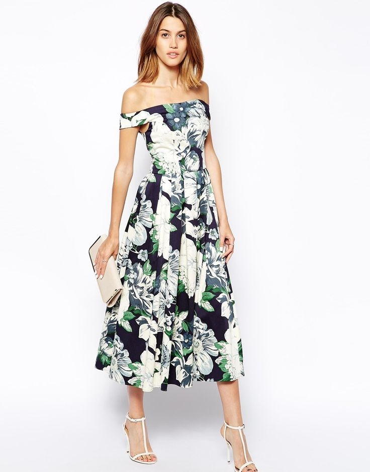 Superb What to wear to a wedding Off The Shoulder Floral Dress wedding