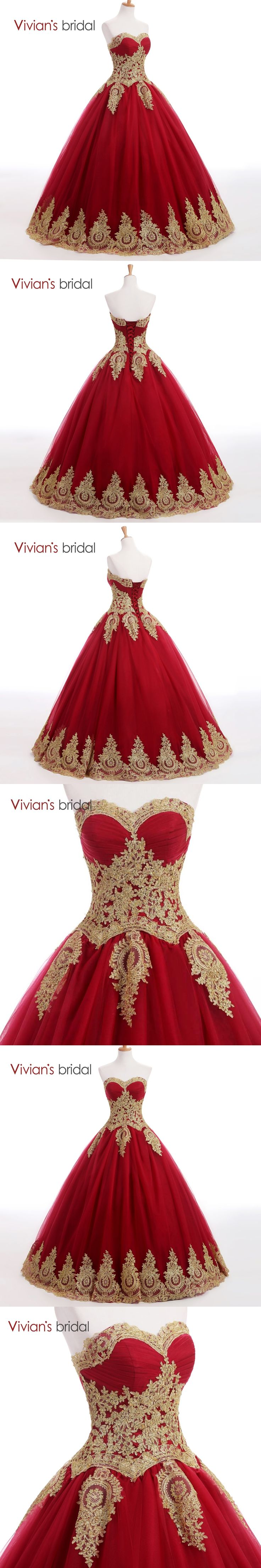 Vivian's Bridal Sweetheart Burgundy Bll Gown Evening Dress Long Prom Dresses Golden Lace Appliques Muslim Evening Gown