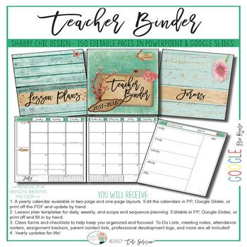 Teacher Binder & Organizer Google Drive Resource ***UPDATED FOR THE 2017-2018 SCHOOL YEAR*** This stunning seascape shabby chic classroom binder is just what secondary teachers need to get prepared in style for