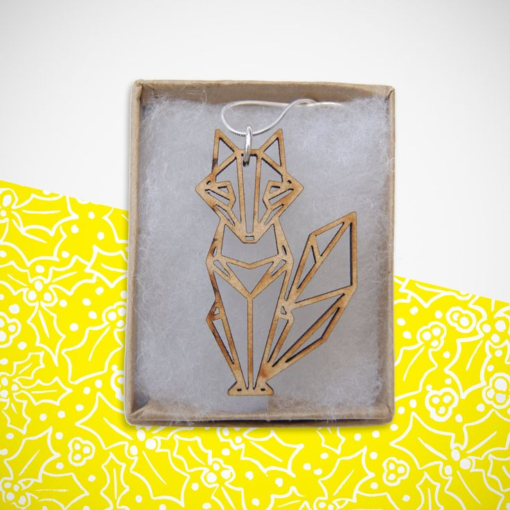 Wooden Origami Fox Necklace. Perfect for ALL occasions. Birthday. Christmas…