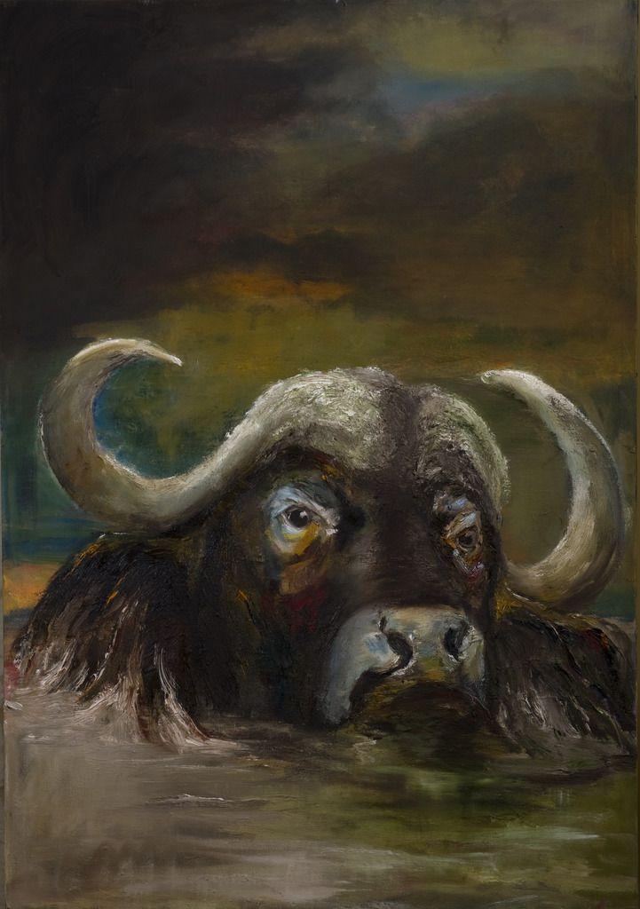 Buffel in water. Buffalo in Water. Oilpainting on linnen, size: 100 x 70 cm. FOR SALE: €  425,00
