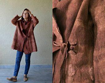 Felted coat, Camel brown , Wearable art, Nuno felted, Designer coat, Hand made, felted jacket, eco-fashion, wool Coat , coat with hood.