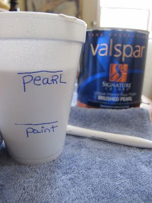 Easy way to stencil a wall...I mixed Grant Beige add Valspar's brushed pearl paint to give it a shimmery affect.