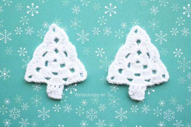 Crochet Christmas trees. Pattern: http://theroyalsisters.blogspot.com.es/2009/11/grandma-tree-tutorial.html?m=1