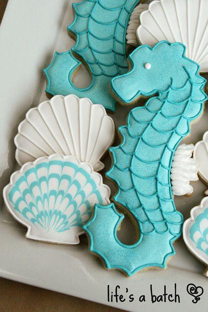Seahorse & Seashell cookies. by navygreen, via Flickr