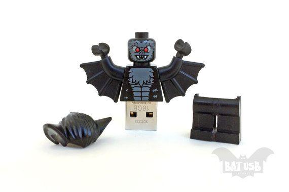 BAT™ 16GB USB flash drive - Memory Stick - Lego® original Minifigure - Vampire Bat with base - Lego usb with legs cap - Halloween usb by Think4HandmadeArt, €55.00