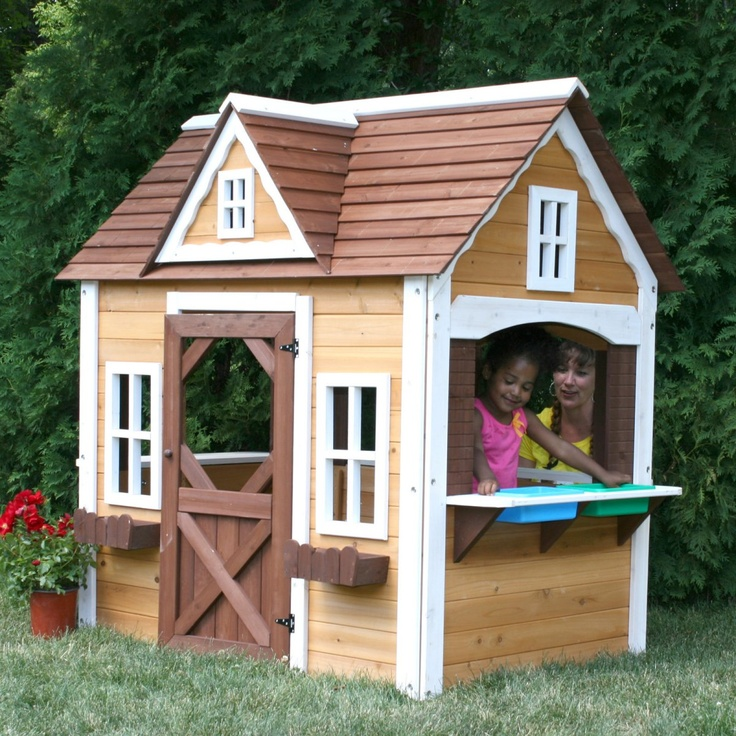 1000 images about playhouses on pinterest outdoor for Wooden playhouse with garage
