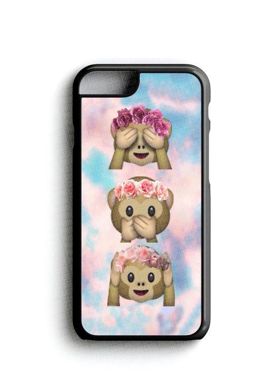 Monkey Floral Crown Emoji Phone Case iPhone by CloudsofAnarchy