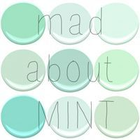 Benjamin Moore Mint Paint: mint green, spring mint, fresh mint, leisure green, copper patina, light pistachio, shore house green, soft mint, mantis green - all lovely for the nursery!