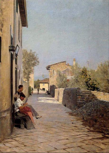 Telemaco Signorini (1835-1901)-'lane in Settignano'-oil on canvas-1885
