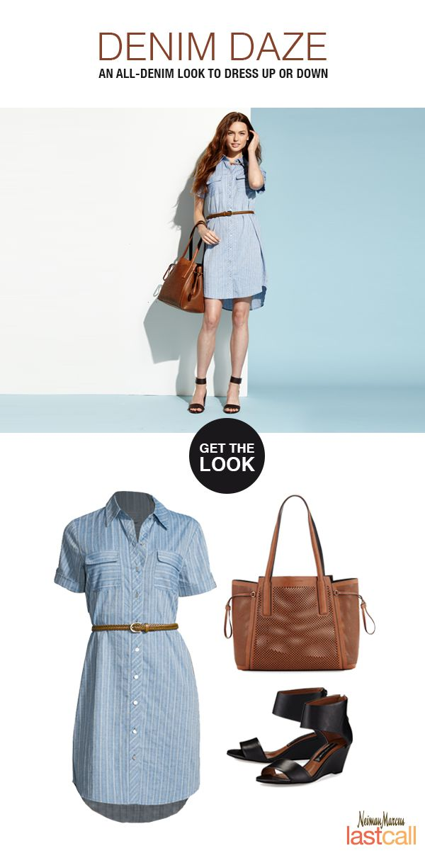 A striped denim dress is perfect for a casual day out. Pair with a French Connection tote and Steve Madden wedges to complete the look.