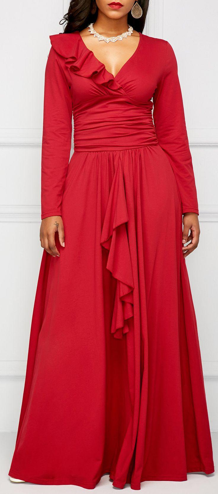 Flouncing Ruched Long Sleeve Red Elegant Dress.