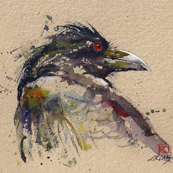 Raven watercolour by Dean Crouser