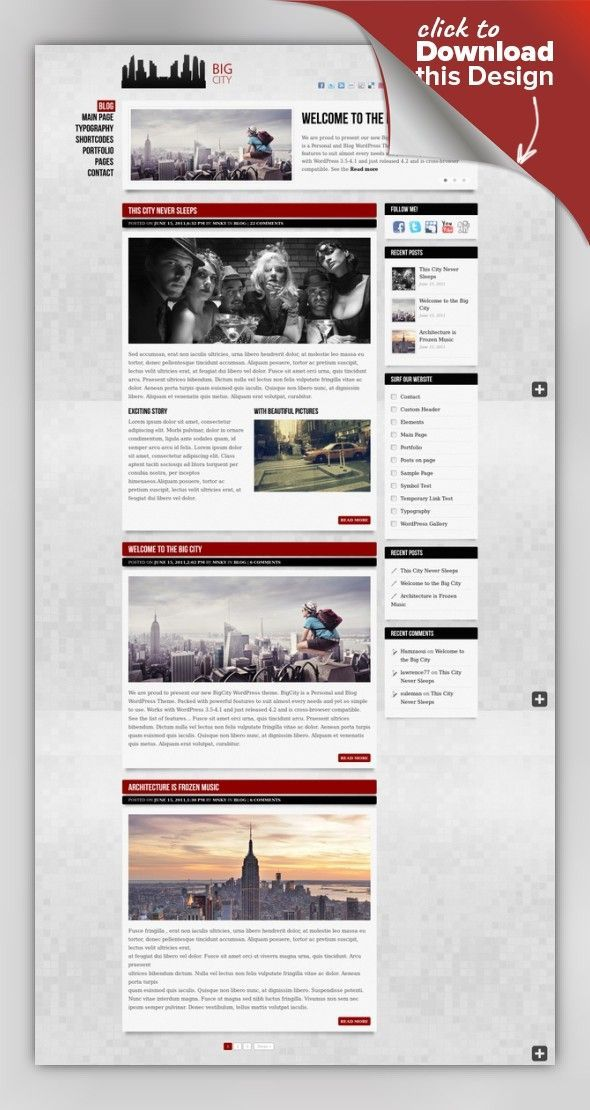 Big City - Personal and Blog WordPress theme admin panel, blog, cufon, custom options, jquery, mnky, personal, personal blog, portfolio, posts, responsive, slider, urban, widgets, wordpress BigCity is a Personal and Blog WordPress Theme. Packed with powerful features to suit almost every needs and yet so simple to use. Works with latest WordPress versions. Check out some great sites already running on BigCity theme: Inside preview ...