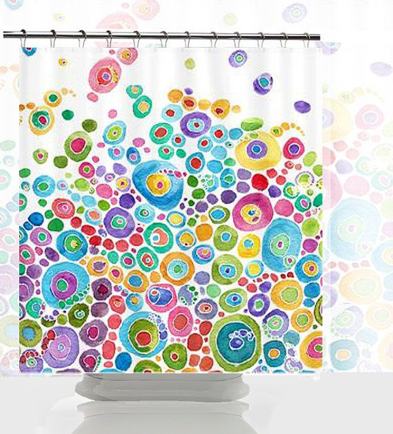 Artistic Shower Curtain Inner Circle Bubbles by ArtfullyFeathered