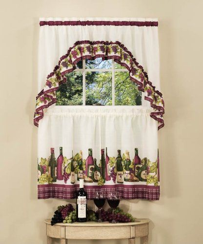 Wine Grapes And Bottles Motif Make The Chardonnay Tier And Swag Set A  Perfect Compliment To Your Kitchen Window Decor. A Complete Kitchen Curtain  Set At A ...
