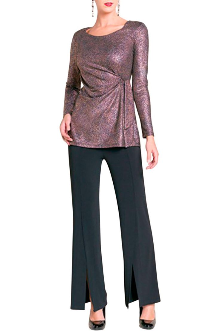"""Copper Side Tie Tunic Top has a ruched and gathered waist with a side tie in a very flattering style.  Shades of bronze and copper on a black base make this top perfect for dressy/casual attire.  This looks great with your black skirt or pant.  The tunic measures between 25 and 27 inches long.  May be washed gentle in cold water.  The model is 5'9"""" tall and is wearing a size small. Copper Sparkle Top by Clara Sunwoo. Clothing - Tops - Long Sleeve Cleveland Ohio"""