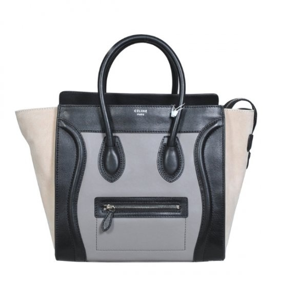 Celine Gusset Cabas Tote Mini Luggage Khaki Bag [Celine-182 ...