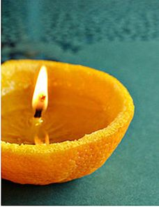 All natural, eco-friendly, sensationally smelling candle! 1. Separate the orange peel from the Orange 2. Pour olive oil into the orange peel half until it is 3/4 full.  3. Light the middle piece of the orange peel and ta-da! A candle for every orange you eat!