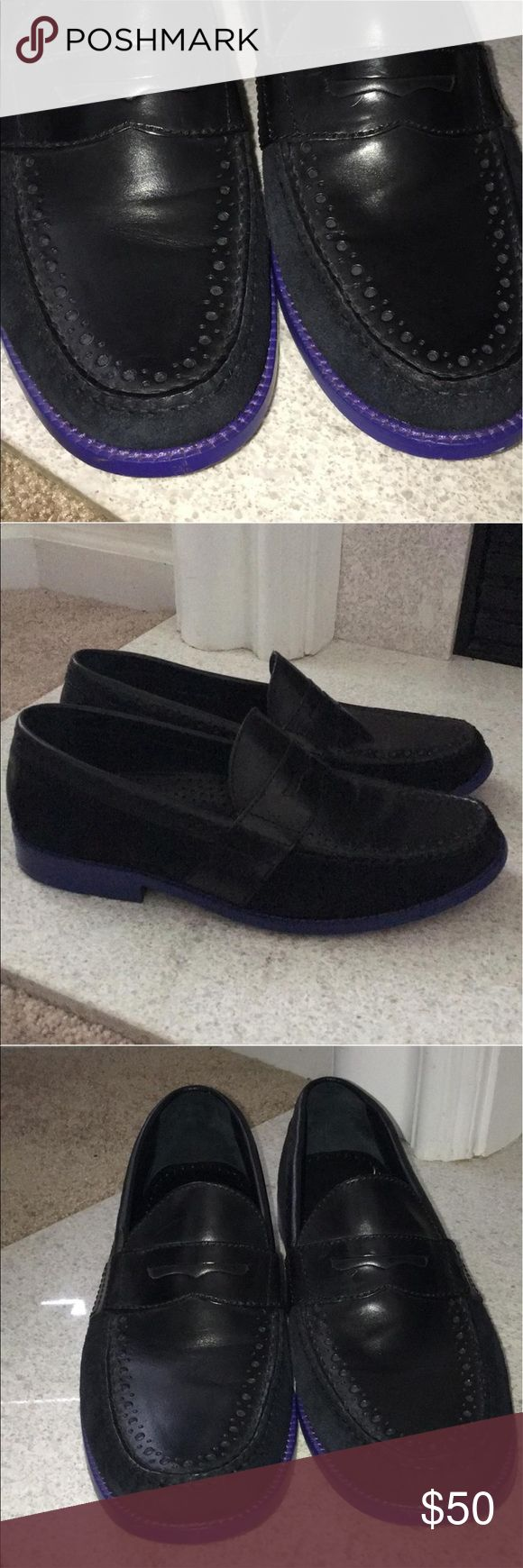 Cole Haan Loafers Preowned Cole Haan Loafer; great condition. Black leather with black suede trim & royal blue sole Cole Haan Shoes Loafers & Slip-Ons