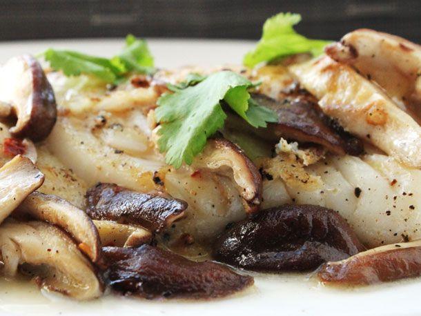 Pan-Seared Fish with Shiitake Mushrooms