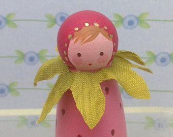 little Miss Strawberry Peg Doll by Jone Hallmark