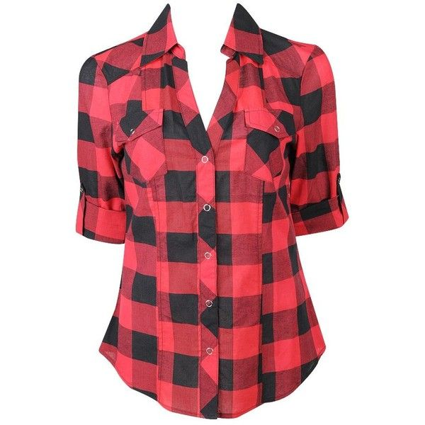 Oversized Gingham Shirt (€10) ❤ liked on Polyvore featuring tops, plaid, forever 21, gingham, red, red tartan shirt, snap shirt, red plaid shirt and oversized plaid shirts