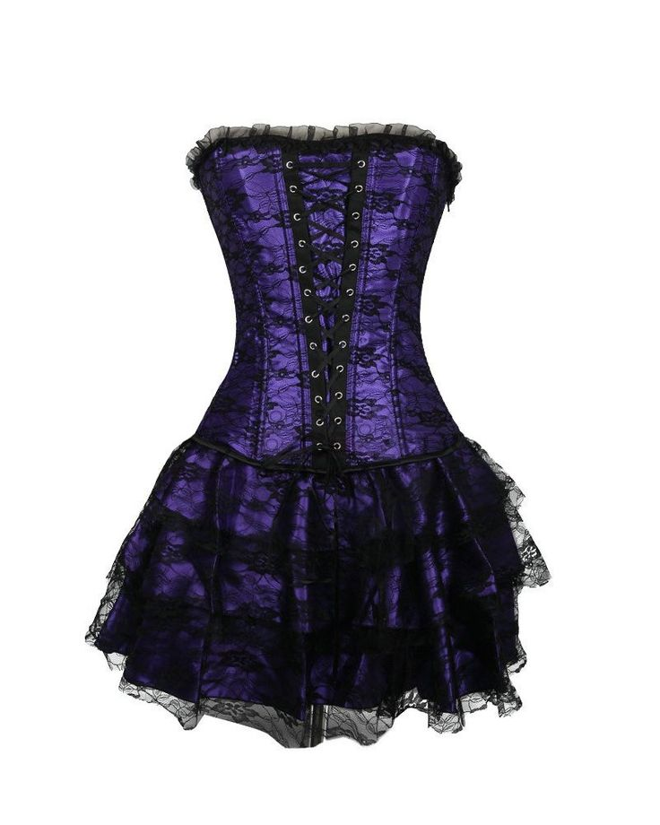 Molly Robe Corset Bustier Jupe Gothique Sexy Dentelle Glamour X-Large Violet