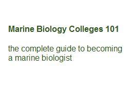Marine Biology Degree Online
