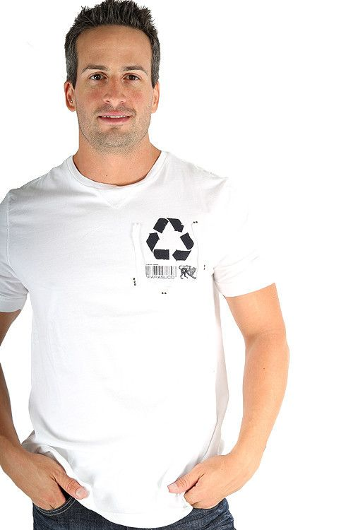 Parasuco White Recycle Reduce Rewear Environmental 9BARKO Mens T Shirt