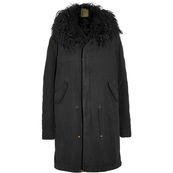 MR & MRS ITALY Shearling-lined cotton-canvas parka ($3,835) ❤ liked on Polyvore featuring outerwear, coats, coats & jackets, black, military style coat, parka coats, shearling lined parka, shearling lined coat and hooded parka