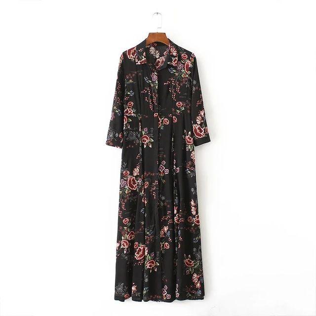 Женская мода Старинные Цветы печати Тонкий Платья Работа Повседневная Элегантный Three Четверти рукав Dress Женская Одежда D 682