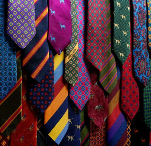 colorful array of neckties