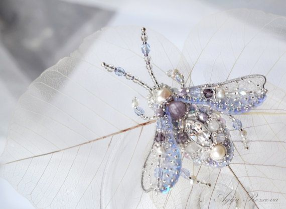 Lavender brooch Beetle Lilac jewelry Insect art brooch Luxury Anniversary gift for wife Birthday gift for daughter or Graduation gift her