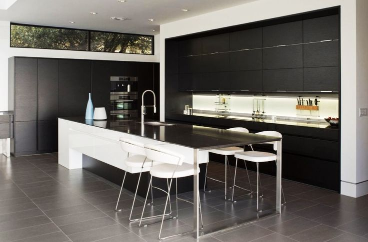 Home Design, Simple And Minimalist Dark And Bright Themed Skyline House Kitchen And Breakfast Spot Involving Clean White Backsplash As Decor: Captivating Modern House Design Ideas with Infinite Swimming Pool