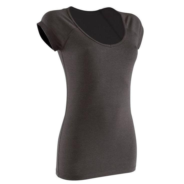21,99TL - Kadın Sıcak Hava Fitness Kıyafetleri - SLIM ACTIVE KISA KOLLU KADIN FITNESS TİŞÖRTÜ - KOYU GRİ - DOMYOS
