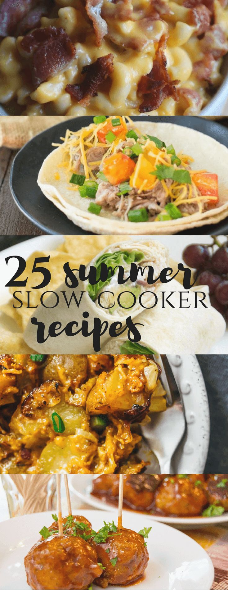 pizza, naan, BBQ, chicken, beef, potatoes, spicy, sanwdich, wrap, lunch, dinner, tacos, canritas, meatballs, turkey, 25 Summer Slow Cooker Recipes