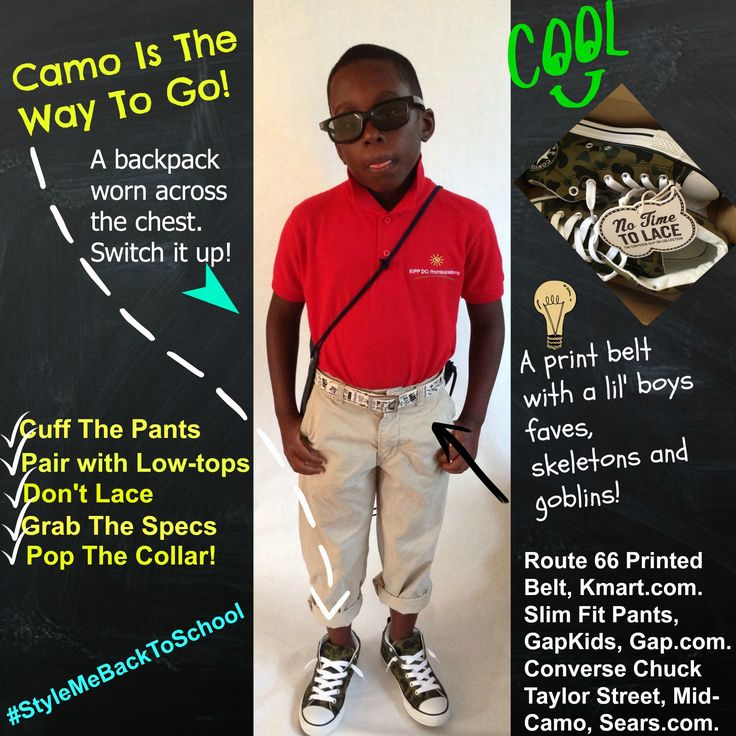Look 4! Camo is the way to go! Cuff the pants. Pair with camo. Don't lace. Grab the specs. Pop the collar!  Featuring @Kmart Fashion @Gap. #Kids #Children #BoysFashion #KidsFashion #KmartFashion #GapKids #BackToSchool #BackToSchoolShopping #KidsFashionTrends #ChildrensWear #Fashion #FashionTips #Uniforms #KidsWearingUniforms #MommyMidday #StyleMeBackToSchool