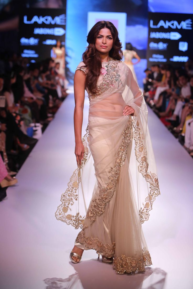 Anushree Reddy ivory net sari  Lakme Fashion Week Winter/Festive 2015