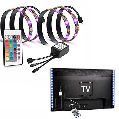 nice EveShine Bias Lighting TV Backlight for HDTV LED Strips Led Lights with Remote Control, 2 RGB LED Strip Home Multi Color RGB LED Neon Accent TV Lighting for Flat Screen TV Accessories, Desktop PC