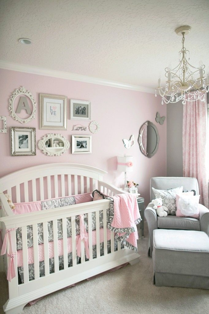 gray and pink nursery! too cute