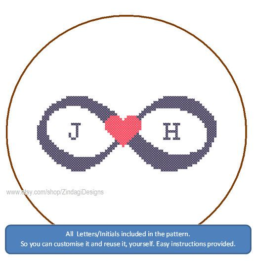 Instant Download Cross Stitch Pattern Infinity by ZindagiDesigns, $5.50