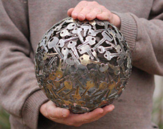 Large 23 cm key ball, Key sphere, Metal sculpture ornament