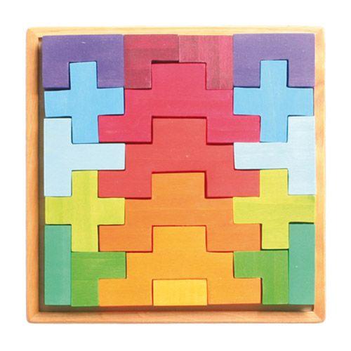 [Grimm's Spiel & Holz Design グリムス社]階段積み木 カラー 19P ドイツ・グリムス社の美しい色彩の積み木19ピースセットです。積み上げたり、いろいろな造形物が作れます。